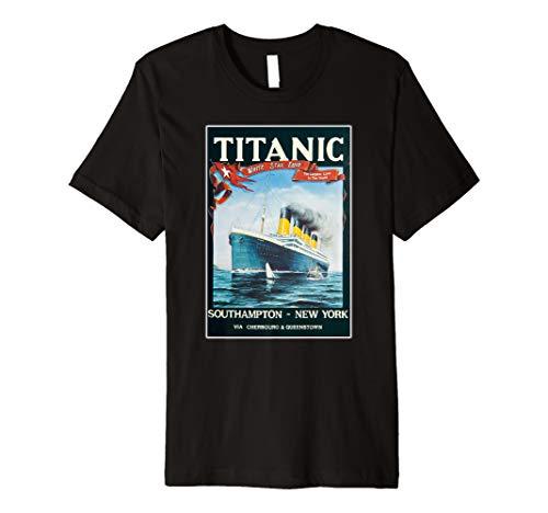 Vintage Titanic Schiff Poster T-Shirt für Mann Frau ()