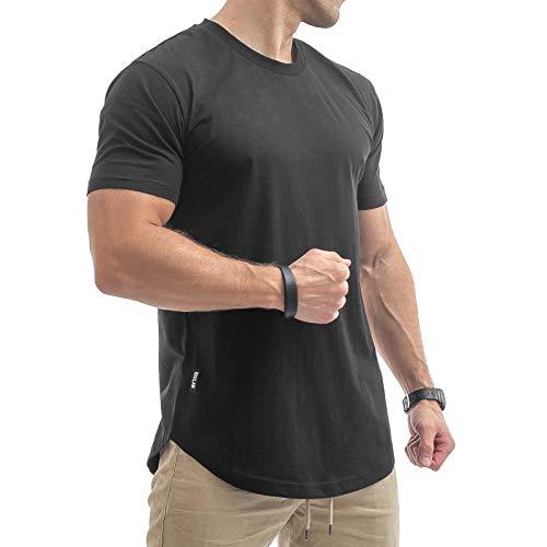 Sixlab Round Tech Herren Oversize T-Shirt Muscle Basic Gym Fitness Shirt (Schwarz, L)