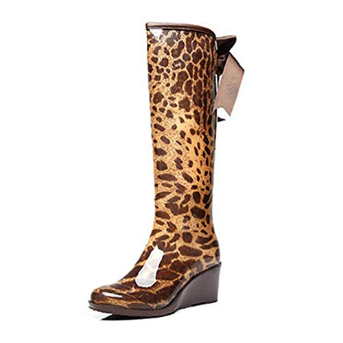 Frauen Regen Stiefel Mitte der Wade Wasserdichte Gummistiefel Schulschüler Mädchen Wasser Sheos (Farbe : Leopard High, Größe : 6 UK) (Regen Stiefel Mitte Der Wade Für Frauen)