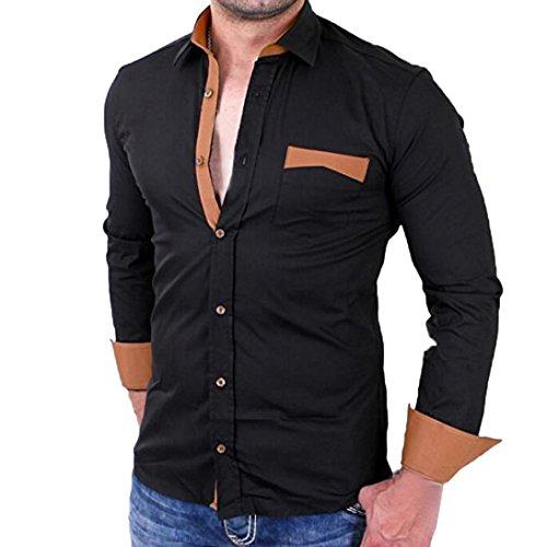 GreatestPAK Einfarbiges Herren Hemd Stitching Color Tops Pullover -