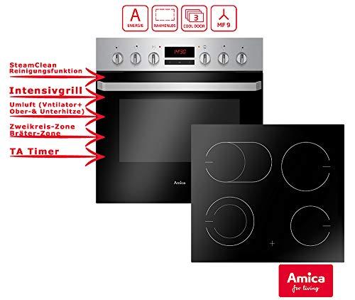 Amica EHC 933 015 E Einbauherd Set | 9-fach Multifunktion Backofen mit Grill und Umluft | Rahmenloses Glaskeramik Kochfeld mit Zweikreis und Bräterzone | Timer | Steam Clean Herd-set