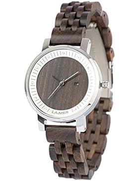 LAiMER Holzuhr JULIA - Damen-Armbanduhr aus Sandelholz mit Edelstahlgehäuse und Swarovski Kristalle für einzigartige...
