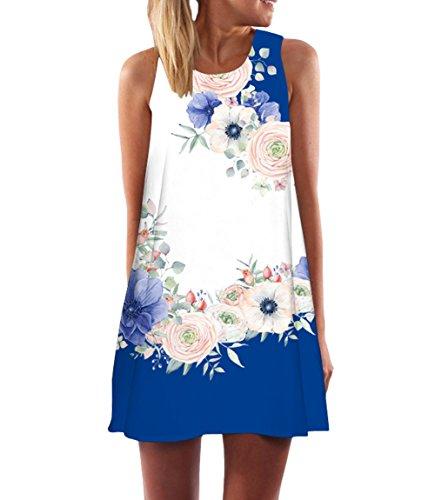 365-Shopping Damen Sommer Chiffon Kleider Sommerkleid Strandkleid Lose Minikleid Partykleider Top (L...