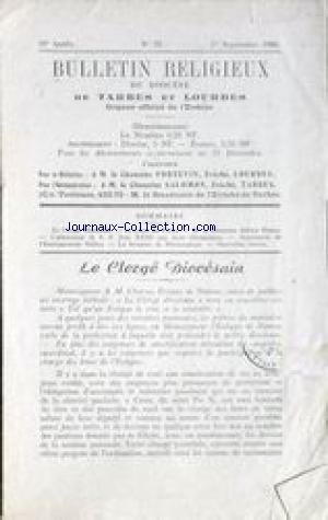 BULLETIN RELIGIEUX DU DIOCESE DE TARBES ET LOURDES [No 35] du 01/09/1960 - LE CHAMOINE PORTEVIN ET LE CHAMOINE SALOMON LE CLERGE DIOCESAIN - LE COEUR DU PRETRE - LE CHAMOINE ADRIEN DUPAS - L'ALLOCUTION DE S.S. JEAN 23 AUX JEUX OLYMPIQUES - AUMONERIE DE L'ENSEIGNEMENT PUBLIC - LA SEMAINE DE MONSEIGNEUR -A.M. CHARUE DE NAMUR