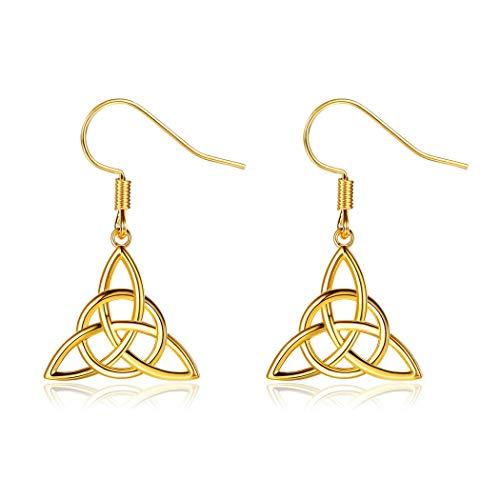ChicSilver Collier/Boucle d'Oreilles Pendentif de Trinity Knot Triquetra Irlandaise Celtique Noeud Trinité Amulette en Argent 925 Plaqué Doré 18K