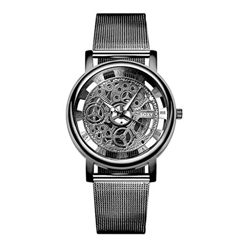 Männer Fashion Watch Silver Golden Luxury Hollow Steel Watches Men Unisex Hombre Quartz Wristwatch Clock Retro Uhr Armbanduhr(Schwarz) ()