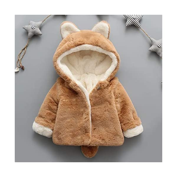 Borlai Chaqueta cálida para bebés de 0 a 5 años con capucha para invierno 2