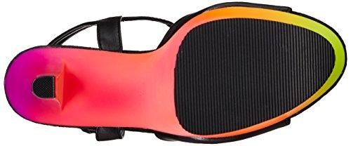 Pleaser RAINBOW-309UV Damen Plateau Sandalen Blk Faux Leather/Neon Multi