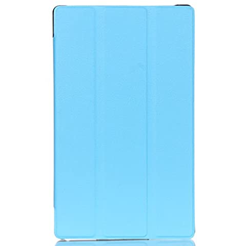 LMAZWUFULM Hülle für Lenovo Tab 3 8 (TB3-850F / TB3-850M) / Tab 2 A8-50 (8.0 Zoll) PU Leder Ultra Dünn Tri-Faltbar Lederhülle Custer Design im Bookstyle mit Stent-Funktion und Karten Slot Schutzhülle Ledertasche Flip Cover für Lenovo Tab 2 A8-50 / Tab 3 8 (TB3-850F / TB3-850M) (8.0 Zoll) Tablet-PC Hellblau