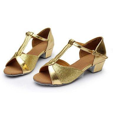 XIAMUO Frauen Girl's Kids Dance Schuhe Latin/Salsa/Samba Satin/Kunstleder 3,5CM Absatz (mehr Farbe) Blau