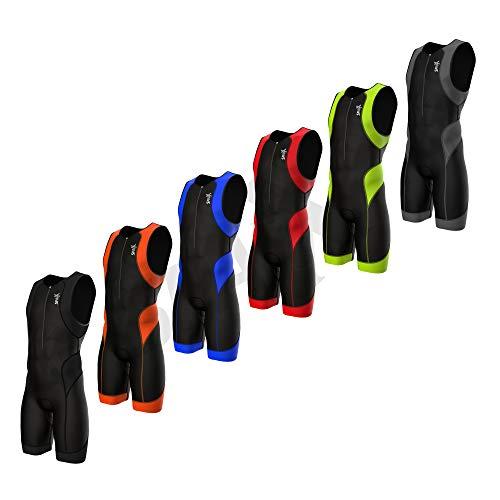 SparX Herren Performance Triathlon Anzug Race Tri Suit 2Taschen UV-Schutz Italienischem Stoff | Swim-Bike-Run | 2014, Schwarz/Blau, XX-Large (Race Anzug)