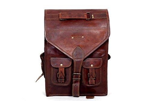 Urbankrfted handgemachte echtes Leder Mens Rucksack Tasche Laptop Satchel Aktenkoffer Brown Vintage (Satchel Messing)