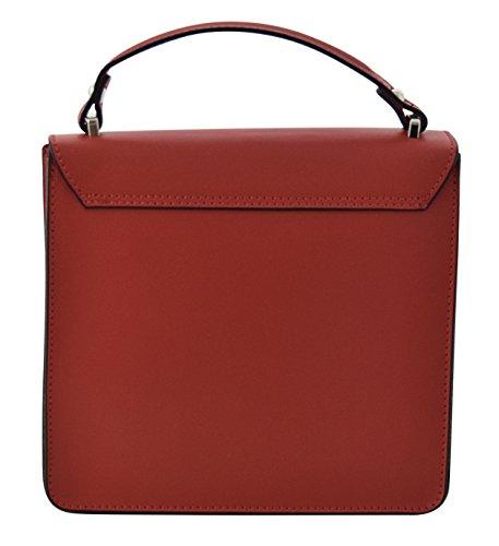 ADELE Borsa a Mano Borsa Spalla Vera Pelle Cuoio Donna Moda Made in Italy Rosso