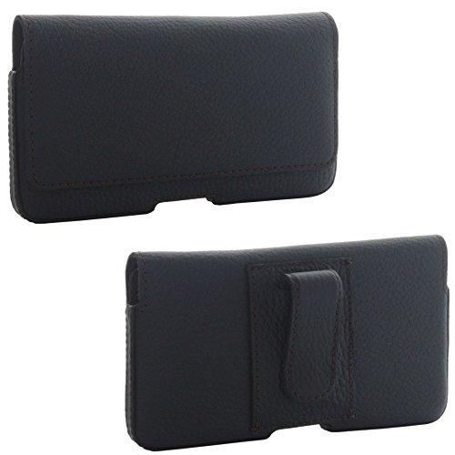 XiRRiX Leder Quer Handy Gürteltasche 3.1 Gürtelschlaufe und Stahlclip 3XL für Huawei P9 / P10 Lite Honor 6a 6c 8 9 - Xcover 4 - Tasche schwarz Htc One X Gürtel-clip