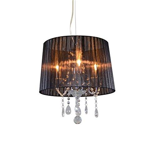 QAZQA Klassisch / Antik / Landhaus / Vintage / Rustikal / Modern / Kronleuchter / Chandelier Ann-Kathrin 3-flammig chrom mit schwarzem Schirm / Innenbeleuchtung / Wohnzimmer / Schlafzimmer Glas / Kris