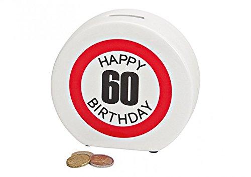 """Spardose / Sparbüchse \""""Happy Birthday\"""" aus Keramik zum 60. Geburtstag - Maße B14 x T5 x H13 cm - super Geburtstagsgeschenk"""
