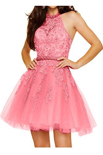 TOSKANA BRAUT Festlich Neu Spitze Rosa Cocktailkleider Kurz Tuell Abschlusskleid Perlen Abendkleid Wassermelone