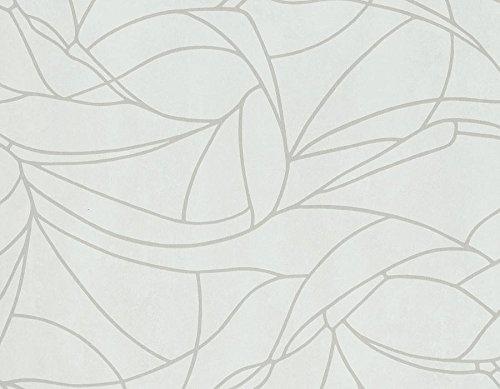 Carta da parati contemporanea colori bianca latte e disegno grigio tortora. Flow 86121