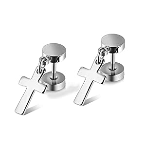 Jewow Schmuck Edelstahl 1 Paar Kreuz Ohrstecker Ohrringe für Damen Herren