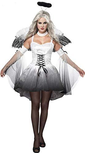 LCXYYY Erwachsener Damen Geister Schwarze Witwe Kostüm Schwarze Geisterbraut Weiblicher Geist Halloween Kostüm Sexy Vampir Dunkler Engel Teufel Karneval Verkleidung Kleid+Flügel+Kopfring - Dunkler Engel Kostüm Flügel