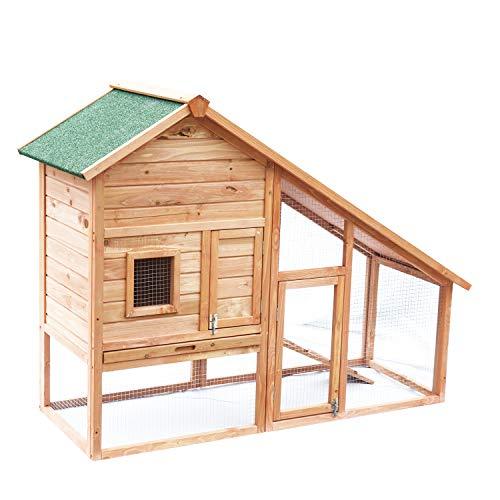 Outsunny pawhut conigliera, gabbia casetta per conigli, roditori con recinto e rampa