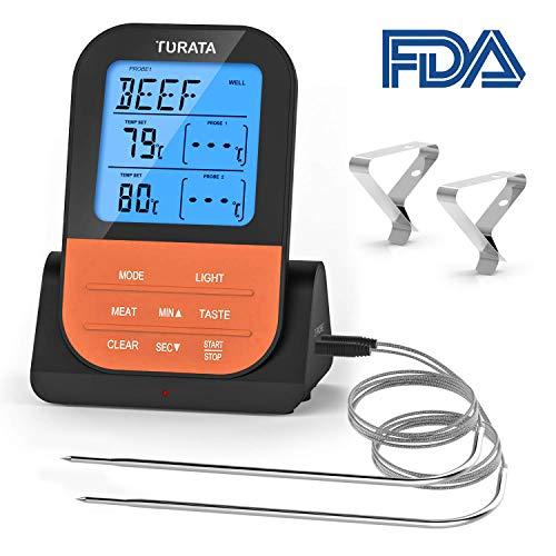 TURATA Bratenthermometer, Fleischthermometer Kabellos BBQ Bratenthermometer Digital Bluetooth Grillthermometer Doppelsonde Elektronische Küche Temperatur (Orange)