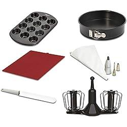 1 de Moulinex XF389010 - Accesorios Cuisine Companion, kit repostería, varillas de doble rotación, manga pastelera, molde desmontable 24 cm, espátula, ...