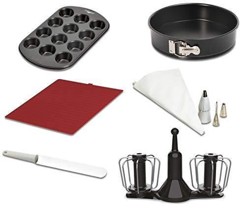 Moulinex XF389010 - Accesorios Cuisine Companion, kit repostería, varillas de doble rotación, manga pastelera, molde desmontable 24 cm, espátula, molde 12 muffins, tapete bandeja horno y recetario