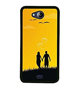 Fuson Premium 2D Back Case Cover We are one Forever with Brown Background Degined for Micromax Canvas Play Q355