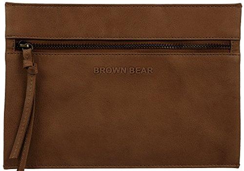 Brown Bear Kosmetiktäschchen Leder vintage tan Reißverschluss Laura