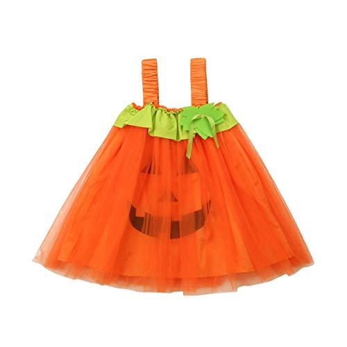 Neugeborenen Baby Mädchen Halloween Kürbis Strampler Mesh Tutu Rock Kleid Body Overall Kostüm Kleidung Outfits (1-2 Jahre alt/80, Kürbis Kleid) (Kürbis Kostüm 2 Jahre Alt)