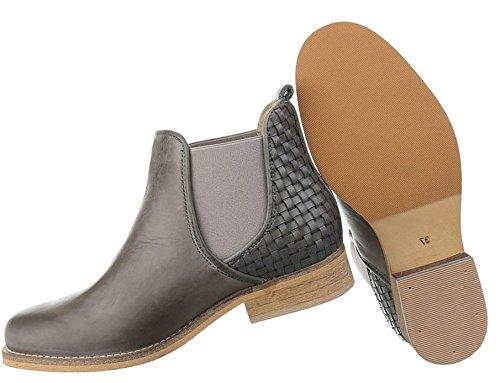 Damen Stiefeletten Schuhe Stiefel Used Optik Leder Chelsea Boots Schwarz Grau 36 37 38 39 40 41 Grau