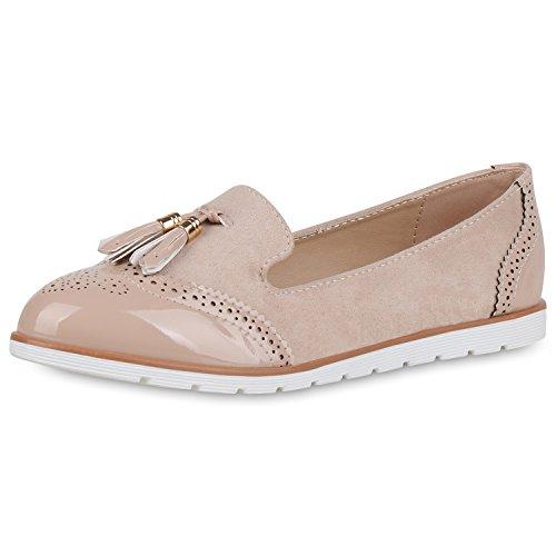 SCARPE VITA Damen Slippers Loafers Lack Slip on Freizeit Schuhe Quasten Flats 164645 Creme Quasten 38 (Creme-quasten)