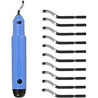FOCCTS Kit de 11pcs Desbarbado Manual Juego de herramientas con 10 piezas Cuchillas de desbarbado de rotación de 360 ° Práctico de corte para acero Plástico Aluminio Cobre