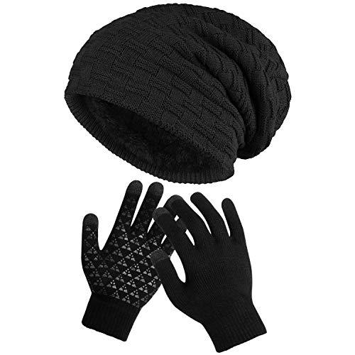 MMTX Inverno Uomini Beanie Hat Caldo Cappello lavorato a maglia Guanti touchscreen Cappello da sci con cappelli in fodera in pile per Compleanno di Natale Capodanno giorno del Ringraziamento regalo