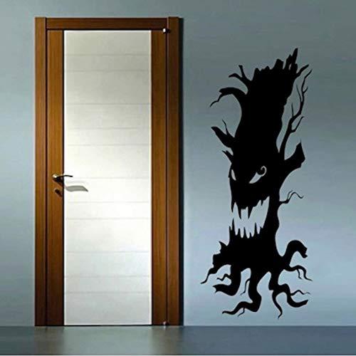 Mgdtt Scary Tree Home Halloween Party Zuhause Wohnzimmer Kunst Aufkleber Baum Silhouette Scary Face Für Halloween Urlaub Dekor Wandbild 21X57 Cm