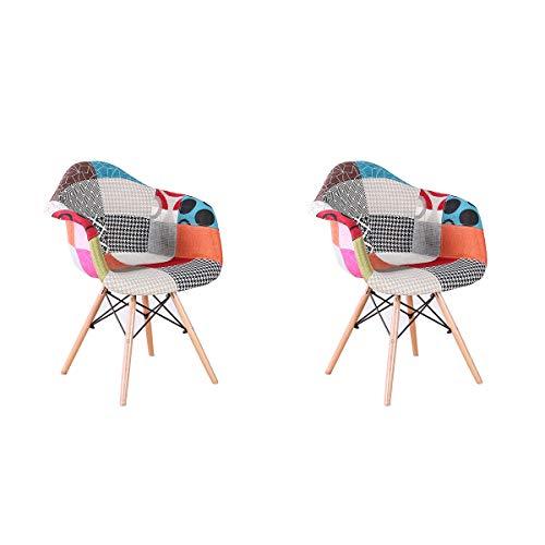 Artdesign fr set di 2 poltrone patchwork sedie da salotto in tessuto in lino tempo libero sedie per reception con schienale cuscino morbido (rosso)