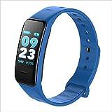 KLE Smart Armband Herzfrequenz Schlaf Überwachung Bluetooth Schrittzähler Sport Armband Smart Watch (Farbe : Blau)