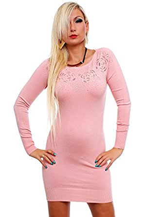 10182 Fashion4Young Damen Strick Minikleid LongPullover Pullover Pulli Kleid in 8 Farben Gr. 36/38 (36/38, Rosa)
