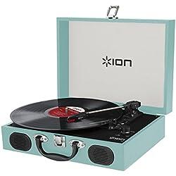 Ion Audio Vinyl Transport - Maleta tocadiscos con altavoces estéreo integrados, también funciona con pilas, color azul