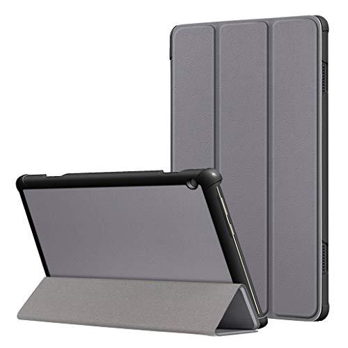 Renzhe Schutzhülle für Lenovo Tab M10 10,1 Zoll TB-X605F/L (PU-Leder, schlank, stoßfest) mit Dreifach-Automatischer Sleep/Wake-Funktion für Lenovo Tab M10 TB-X605F/L, grau