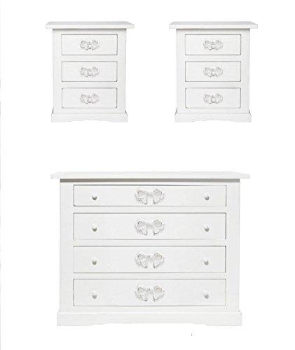 Gruppo com• a tre cassetti con due comodini in legno Bianco stile vintage con pomelli a forma di fiocco L'ARTE DI NACCHI 4659/BG