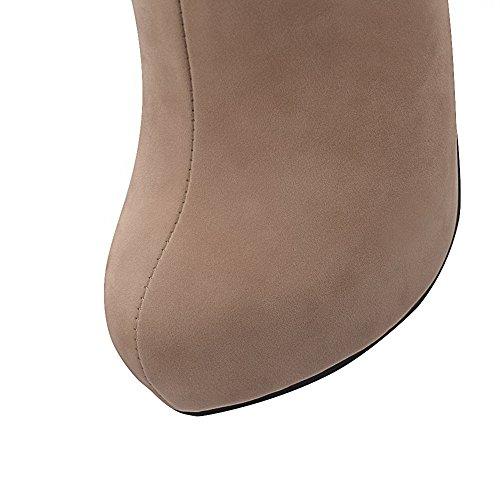 AgooLar Damen Eingelegt Hoher Absatz Rund Zehe Nubukleder Reißverschluss Stiefel Aprikosen Farbe