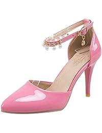 BIGTREE Silber D'Orsay Damen Pumps Spitze Zehen Niete High Heels Knöchelriemchen Sandalen von 34 EU ITnoZeh