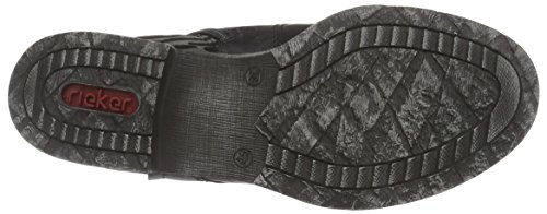 Rieker 70802 Damen Halbschaft Stiefel Schwarz (schwarz/grau-schwarz / 01)