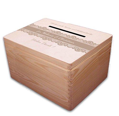 MidaCreativ große Holz-Box/Geschenkbox zur Hochzeit Briefbox Geldgeschenke incl Lasergravur - optional auch abschließbar - Wünsche Hochzeit Karte Box