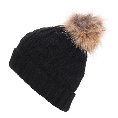 Amlaiworld Frauen gehäkelte Mütze aus Wolle gestrickte Beanie Waschbär warme Pelzmütze (schwarz) (Wolle Modische Solid)