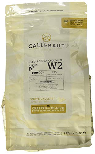 Callebaut white chocolate chips Belgian high quality, white chocolate chips (callets or buttons) by Barry Callebaut. Callebaut have created this chocolate couverture for easy melting and a wide range of chocolate use from moulding & enrobing to m...