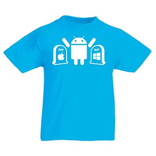 Kinder T-Shirt Der Gewinner ist Android - Geschenk für Tech-Fans (12-13 years Hellblau Weiß)