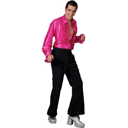 Crazy Groovy 70er Disko Shirt Pink Verkleidung für Männer Halloween Kostüm L (Crazy Pink Kostüm)